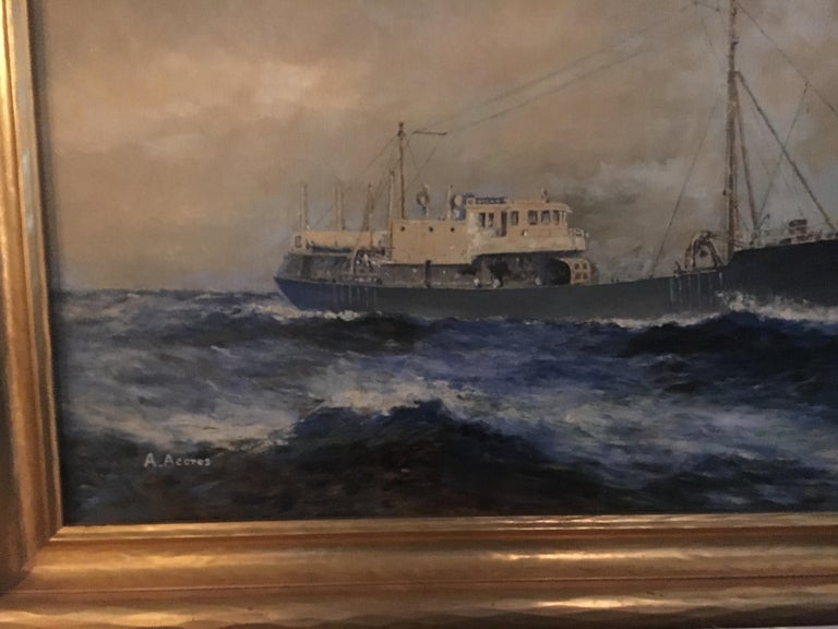Canvas 19th Century American Seascape of Commercial Ship For Sale