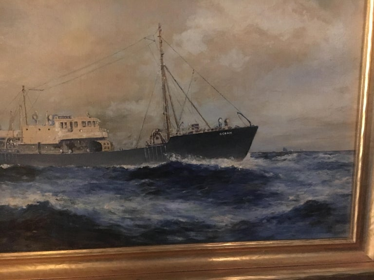 19th Century American Seascape of Commercial Ship For Sale 1