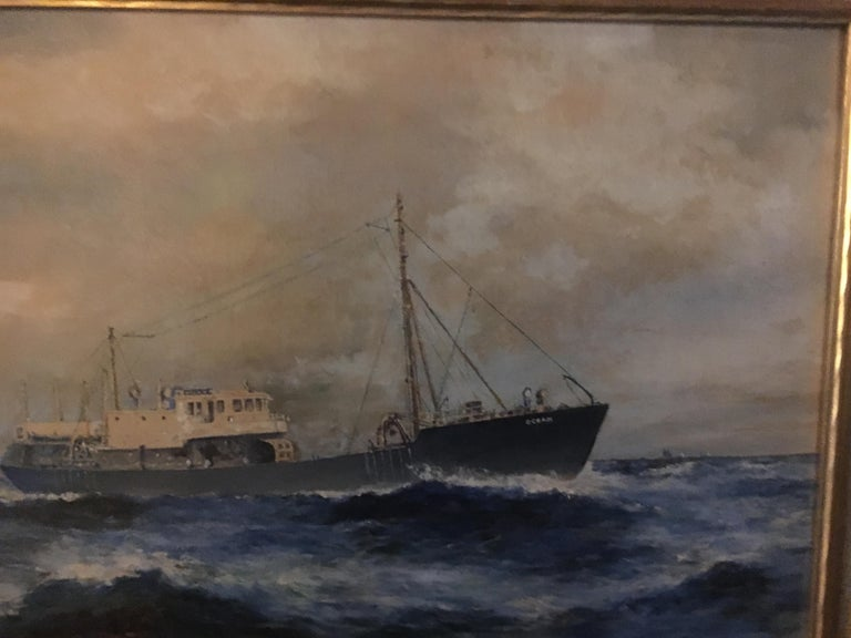 19th Century American Seascape of Commercial Ship For Sale 2