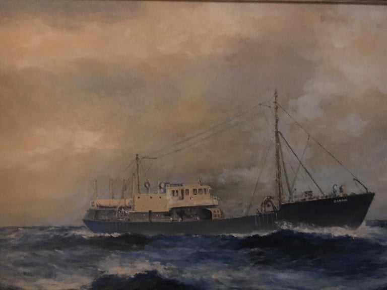 19th Century American Seascape of Commercial Ship For Sale 4