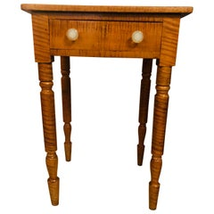 19th Century American Sheraton Cherry and Tiger Maple Stand with One Drawer