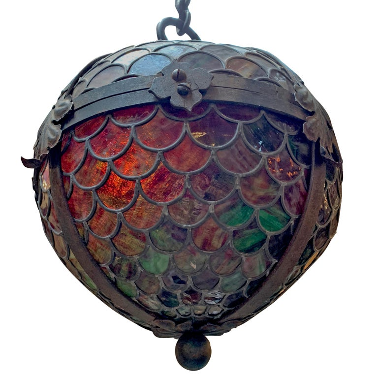 Late Victorian 19th Century American Stained Glass Pendant For Sale