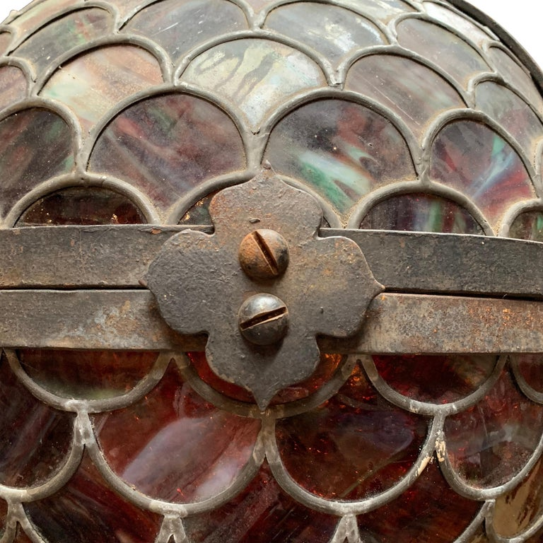 19th Century American Stained Glass Pendant For Sale 3