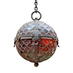 19th Century American Stained Glass Pendant