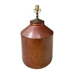19th Century American Stoneware Crock as Lamp, Marked U.S. Standard Stoneware Co