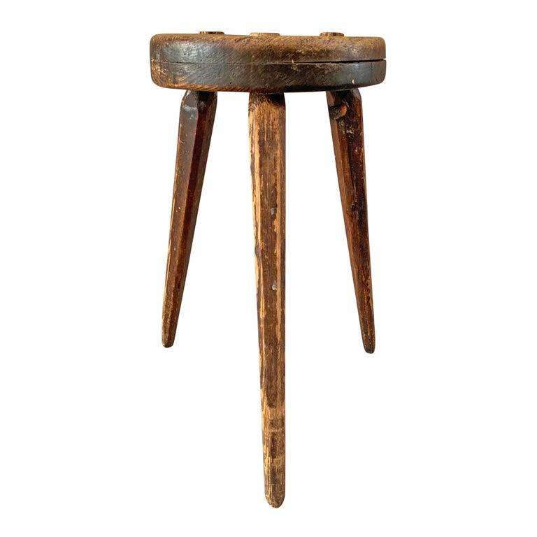 Primitive 19th Century American Three-Legged Stool