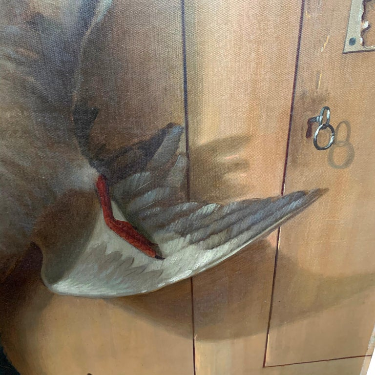 Hand-Painted 19th Century American Trompe l'Oeil Hunt Painting  For Sale