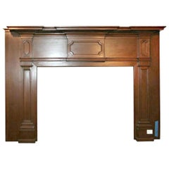 19th Century American Wood Mantel with Raised Panels and Tapered Columns