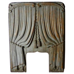 19th Century American Wooden Trompe l'Oeil Panel from a Horse-Drawn Hearse