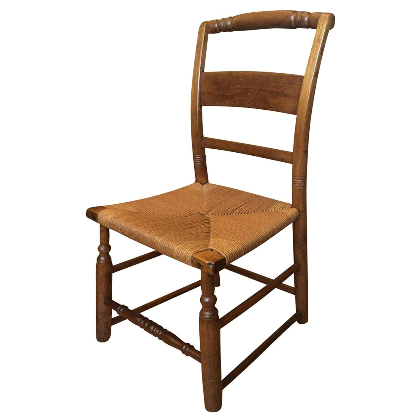 19th Century American Work Child's Chair with Rush Seat