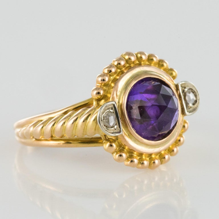 19th Century Amethyst Diamonds 18 Karat Yellow Gold Ring For Sale 5