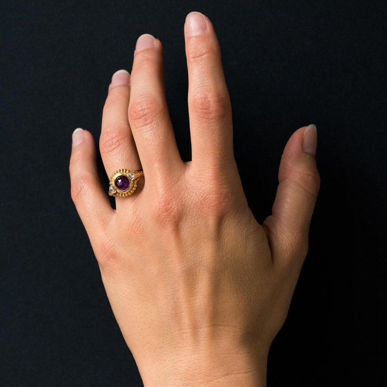 19th Century Amethyst Diamonds 18 Karat Yellow Gold Ring For Sale 6
