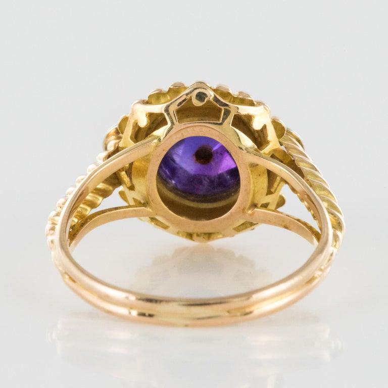 19th Century Amethyst Diamonds 18 Karat Yellow Gold Ring For Sale 7