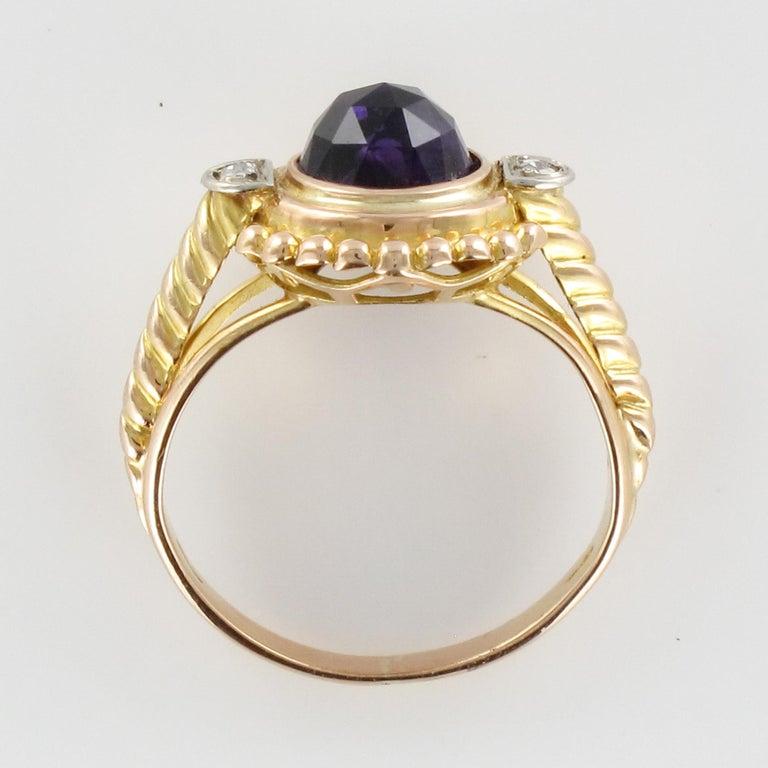 19th Century Amethyst Diamonds 18 Karat Yellow Gold Ring For Sale 8