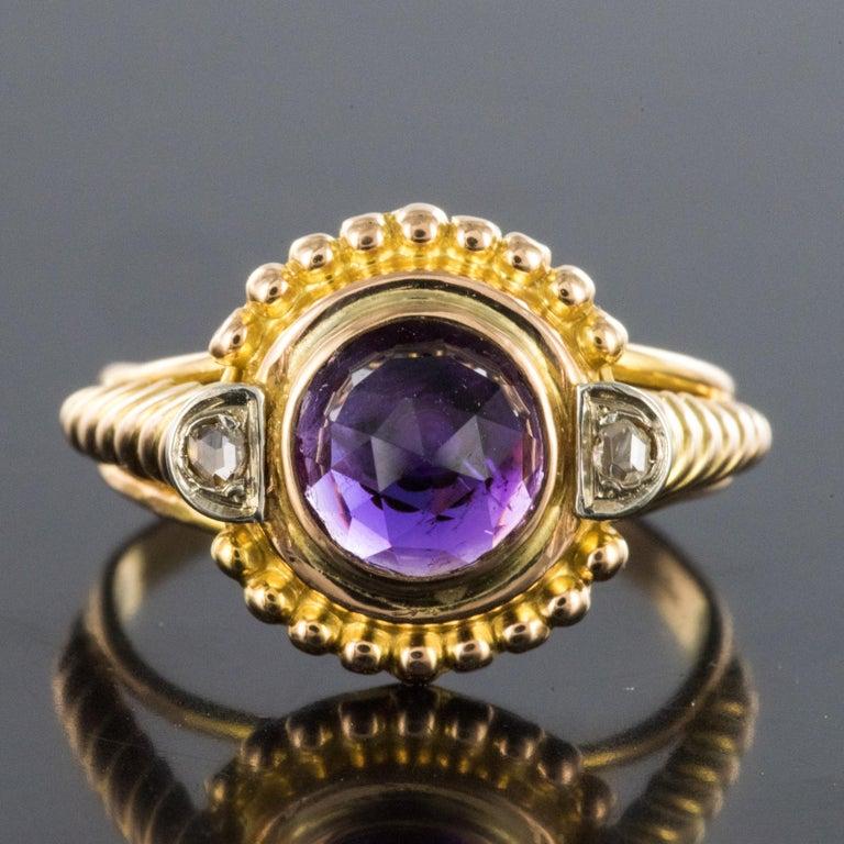 Napoleon III 19th Century Amethyst Diamonds 18 Karat Yellow Gold Ring For Sale