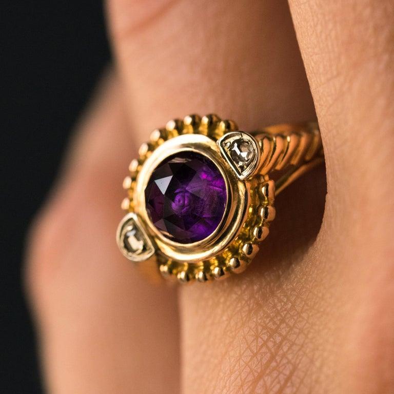 Women's 19th Century Amethyst Diamonds 18 Karat Yellow Gold Ring For Sale