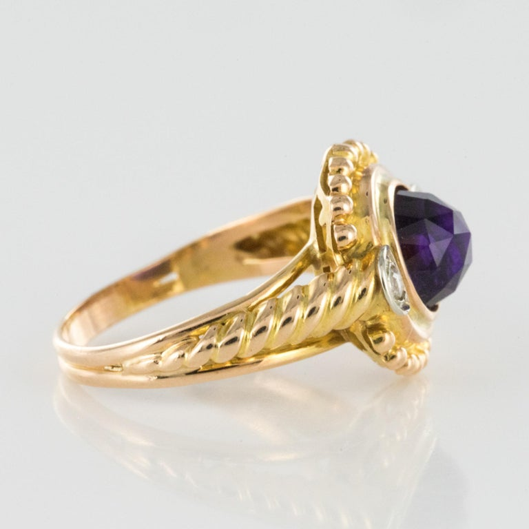 19th Century Amethyst Diamonds 18 Karat Yellow Gold Ring For Sale 2