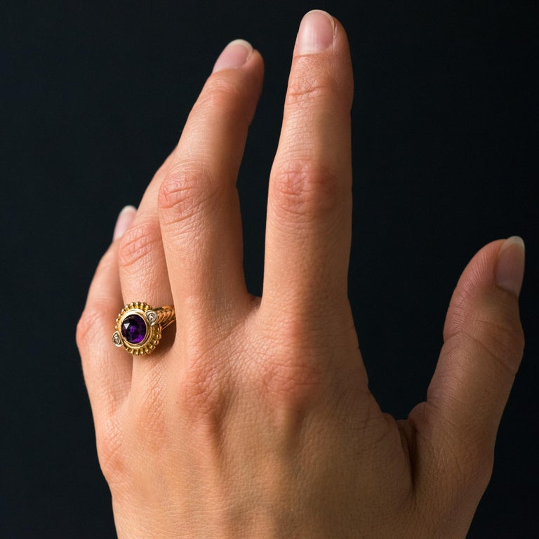 19th Century Amethyst Diamonds 18 Karat Yellow Gold Ring For Sale 3
