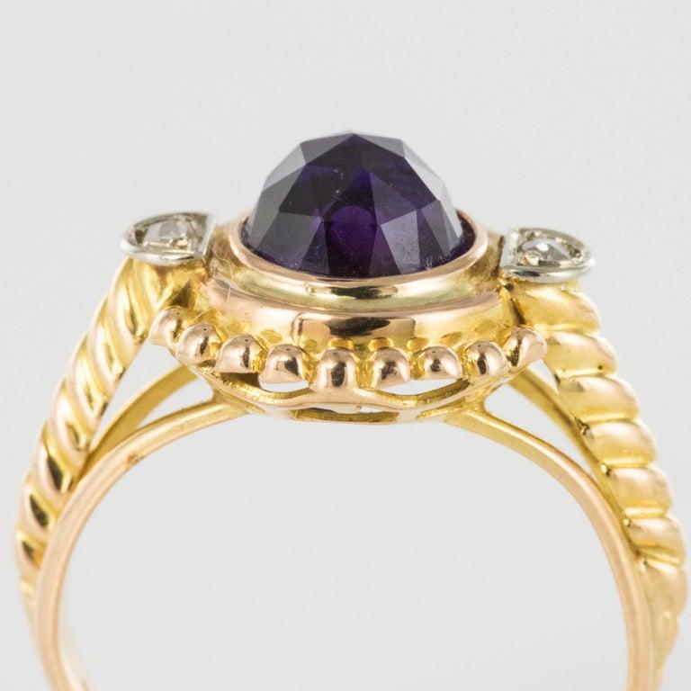 19th Century Amethyst Diamonds 18 Karat Yellow Gold Ring For Sale 4