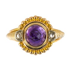 19th Century Amethyst Diamonds 18 Karat Yellow Gold Ring