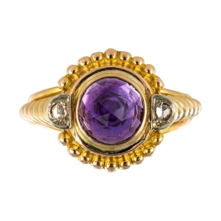 19th Century Amethyst Diamonds 18 Karat Yellow Gold Ring For Sale