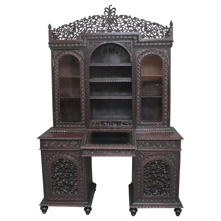 19th Century Anglo-Indian bookcase For Sale