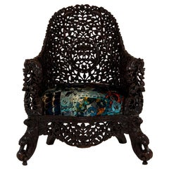19th Century Anglo-Indian Carved Dark Walnut Chair