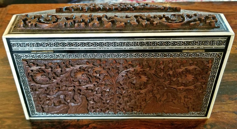 Hand-Carved 19th Century Anglo-Indian Carved Padouk and Sadeli Stationary Box For Sale