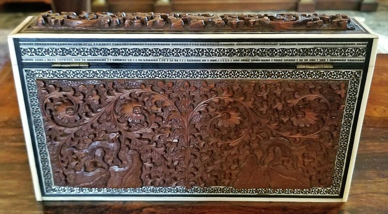 Ebony 19th Century Anglo-Indian Carved Padouk and Sadeli Stationary Box For Sale