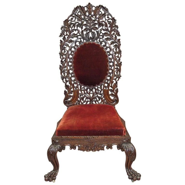 19th Century Anglo Indian Carved Padouk Side Chair For Sale