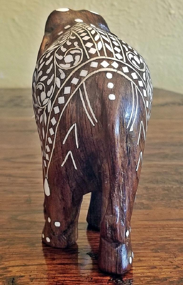 19th Century Anglo Indian Carved Rosewood And Bone Inlaid Elephant For Sale At 1stdibs