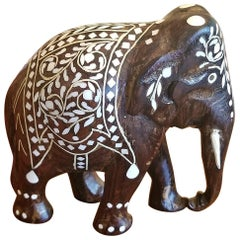 19th Century Anglo-Indian Carved Rosewood and Bone Inlaid Elephant