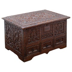 19th Century Anglo-Indian Hand Carved Tropical Wood Box