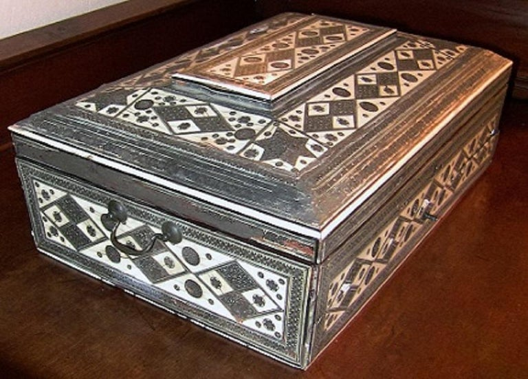 Hand-Crafted 19th Century Anglo-Indian Large Sadeli Sewing Box with Hidden Writing Slope For Sale