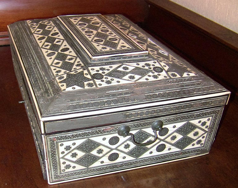 19th Century Anglo-Indian Large Sadeli Sewing Box with Hidden Writing Slope In Fair Condition For Sale In Dallas, TX