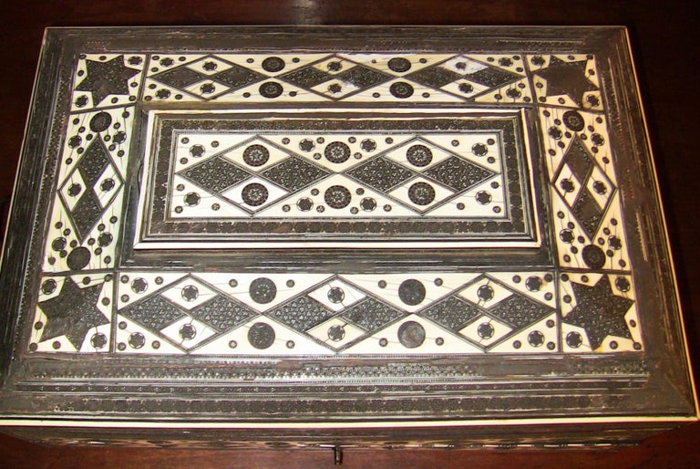 Bone 19th Century Anglo-Indian Large Sadeli Sewing Box with Hidden Writing Slope For Sale