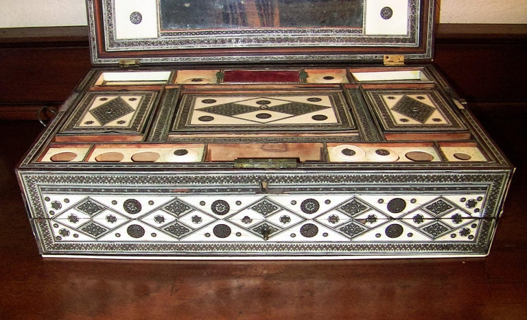 19th Century Anglo-Indian Large Sadeli Sewing Box with Hidden Writing Slope For Sale 1