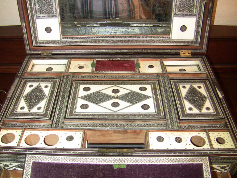 19th Century Anglo-Indian Large Sadeli Sewing Box with Hidden Writing Slope For Sale 3