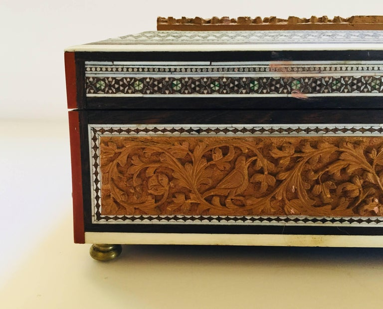 Bone 19th Century Anglo-Indian Sadeli Mosaic Jewelry Box with Lidded Compartments For Sale