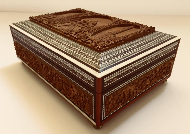 19th Century Anglo-Indian Sadeli Mosaic Jewelry Box with Lidded Compartments For Sale 3