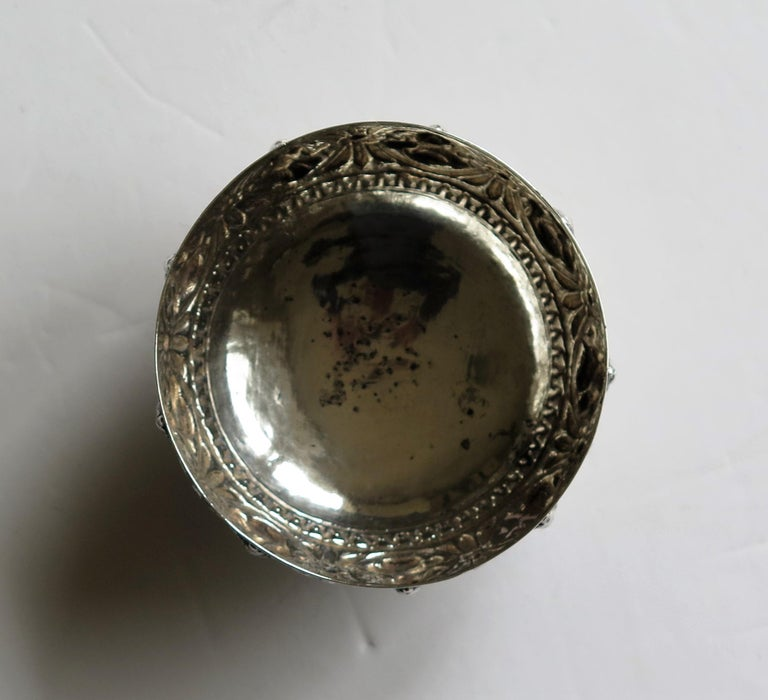 19th Century Anglo Indian Solid Silver small Bowl hand made with chased Dieties For Sale 11