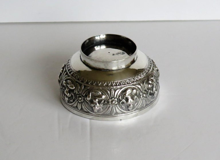 19th Century Anglo Indian Solid Silver small Bowl hand made with chased Dieties For Sale 13