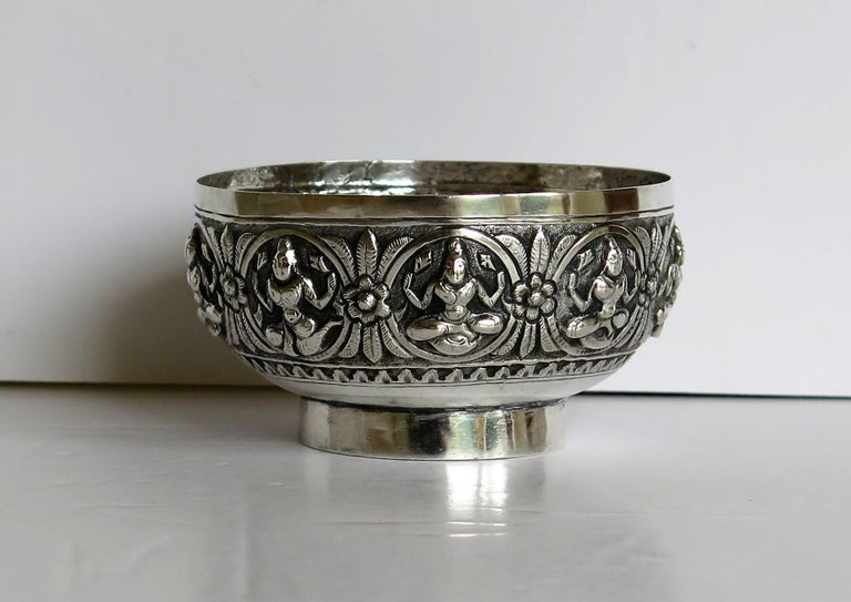 Anglo-Indian 19th Century Anglo Indian Solid Silver small Bowl hand made with chased Dieties For Sale