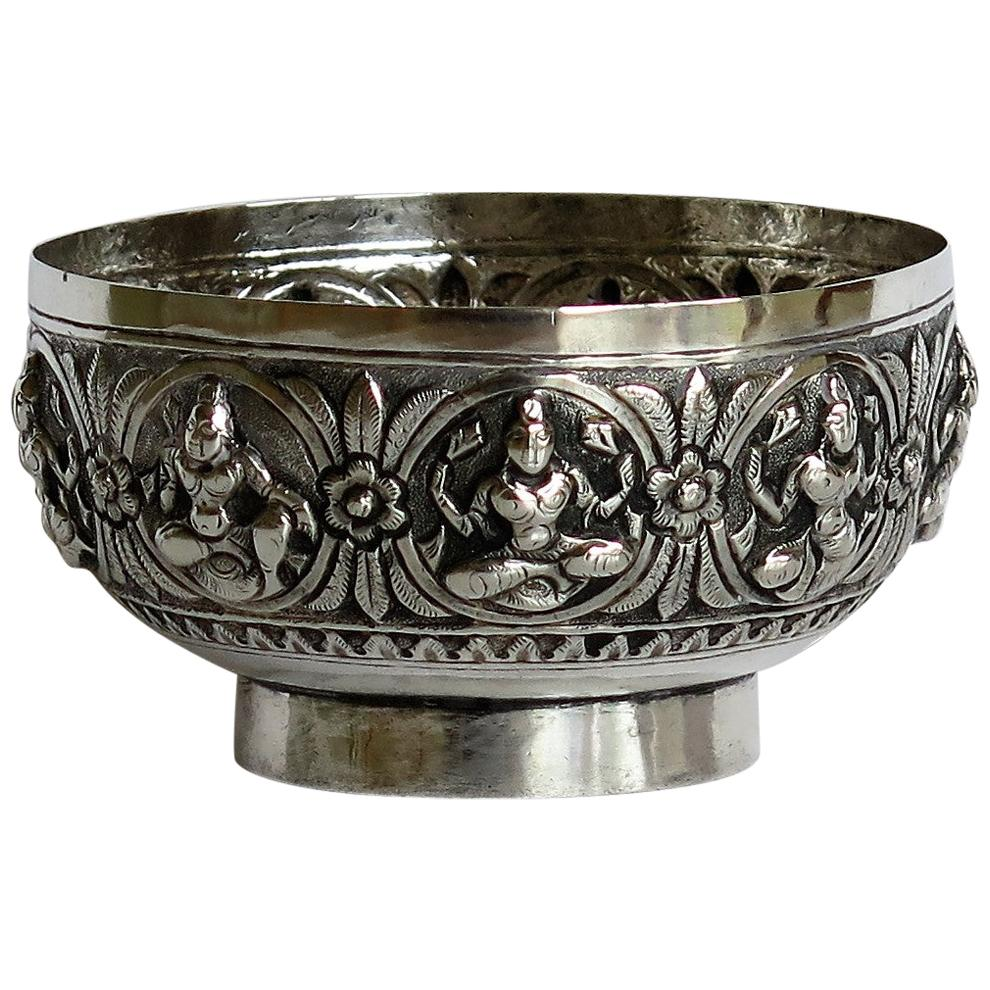 19th Century Anglo Indian Solid Silver small Bowl hand made with chased Dieties
