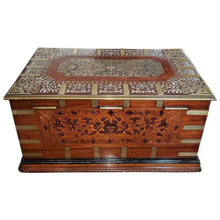 19th Century Anglo Indian Stationery Campaign Chest, Outstanding For Sale