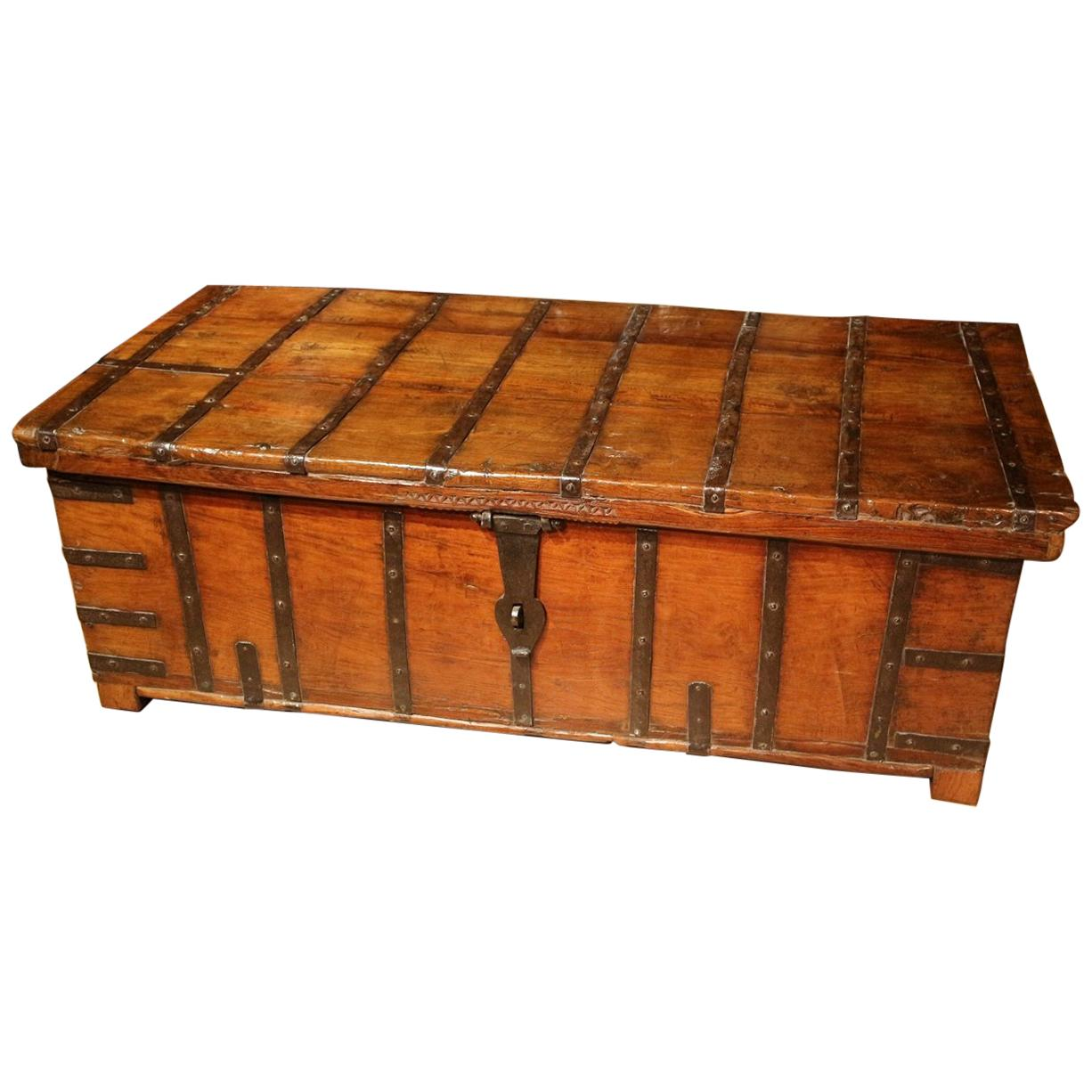 Furniture Early 19th Century Solid Teak Indian Low Table