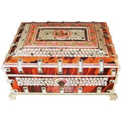 19th Century Anglo-Indian Vizagapatam Shell and Colored Bone Trinket Box