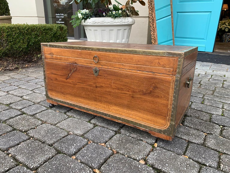 19th Century Anglo-Indian Wood Trunk with Wheels 6