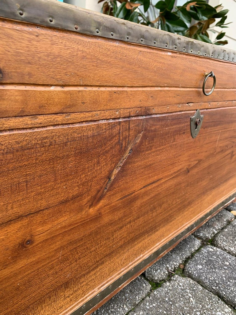 19th Century Anglo-Indian Wood Trunk with Wheels 12