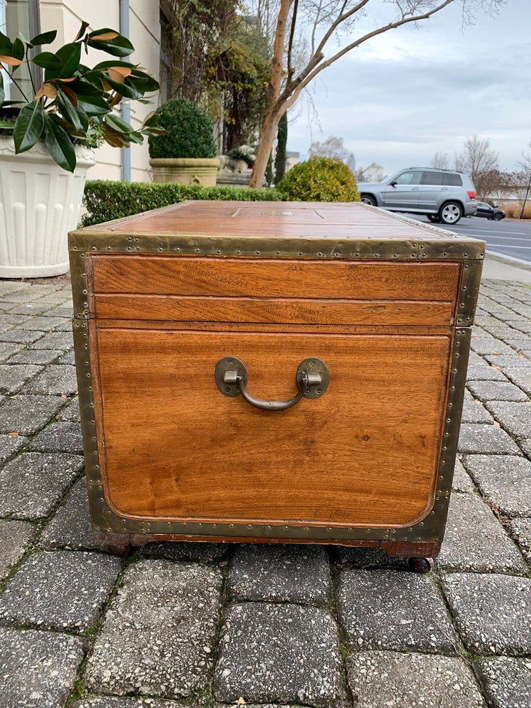 19th Century Anglo-Indian Wood Trunk with Wheels 13